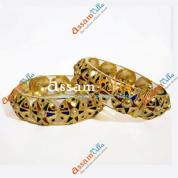 Assamese Traditional Multicolored Jaapi Bangle (Pair) Jewellery Set