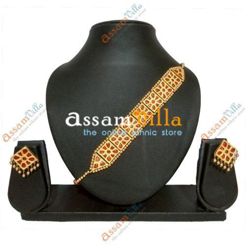 Square Goplota Necklace Assamese Jewellery Set