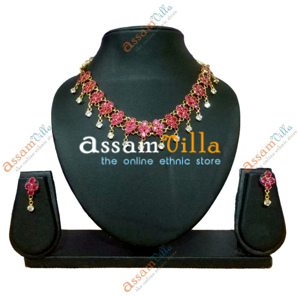 f39139bda396c Assamese Traditional Red Stone Floral Golpota Necklace Set