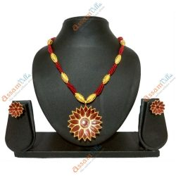 Assamese Traditional Thuriya Design Pendant Set with Thuriya Earings