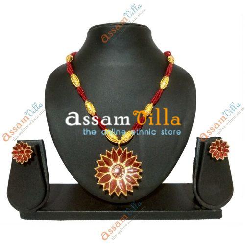 Assamese Traditional Thuriya Design Pendant Set with Thuriya Earings